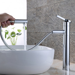 Contemporary Centerset Pullout Spray Rotatable Ceramic Valve Single Handle One Hole Painting, Bathroom Sink Faucet