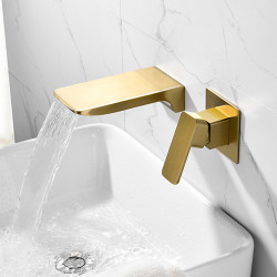 Bathroom Sink Faucet - Wall Mounted Brushed Gold Finish Basin Mixer Faucet Waterfall Single Handle Washroom Faucet Luxury