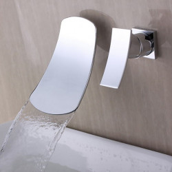 Bathroom Sink Faucet - Waterfall Chrome Widespread Single Handle Two Holes Bath Faucet,Brass
