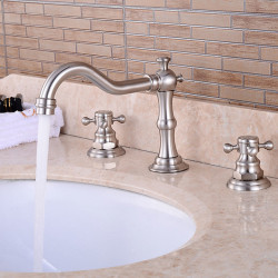 Bathtub Faucet - Victoria,Waterfall,Widespread Nickel Brushed Widespread Two Handles Three Holes Bath Faucet