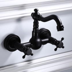 Bathroom Sink Faucet - Wall Mount Multi-Ply Wall Mounted Two Handles Two Holes Bath Faucet