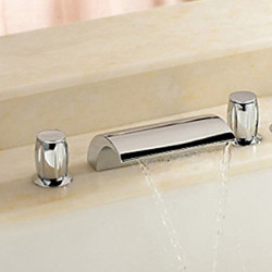 Country Widespread Waterfall Ceramic Valve Two Handles Three Holes Chrome, Bathroom Sink Faucet