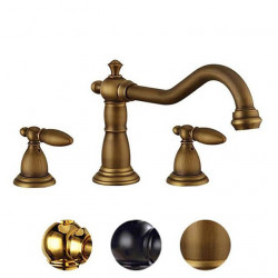 Bathroom Sink Faucet - Widespread Gold,Electroplated,Black Widespread Two Handles One HoleBath Faucet