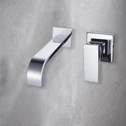 Bathroom Sink Faucet - Wall Mount,Waterfall Chrome Wall Mounted Single Handle Two Holes Bath Faucet