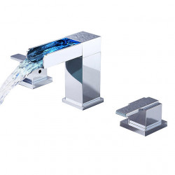 Bathroom Sink Faucet - LED,Waterfall Chrome Widespread Two Handles Three Holes Bath Faucet