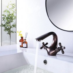 Bathroom Sink Faucet Oil Rubbed Bronze Hot and Cold Single Hole Double Handle Cross Knobs Basin Mixer Faucet with Vanity Sink...