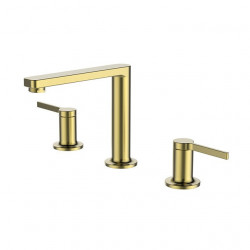 Bathroom Sink Faucet - Deck-mounted Double Handle Brushed Gold Finish Brass Sink Faucet Bathroom Mixer Faucet