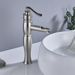 Faucet Set - Waterfall Brushed Centerset Single Handle One HoleBath Faucet