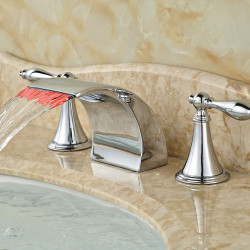 Modern Widespread Waterfall LED Ceramic Valve Two Handles Three Holes Chrome, Bathroom Sink Faucet
