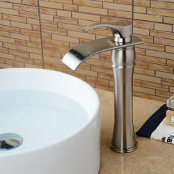 Faucet Set - Waterfall Nickel Brushed Centerset Single Handle One HoleBath Faucet