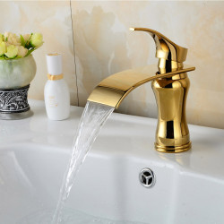 Bathroom Sink Faucet - Waterfall Ti-PVD Centerset Single Handle One Hole Bath Faucet