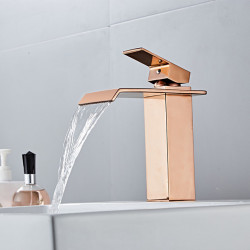Bathroom Sink Faucet - Waterfall Electroplated Centerset Single Handle One HoleBath Faucet