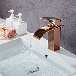 Bathroom Sink Faucet - Waterfall Rose Gold Centerset Single Handle One HoleBath Faucet
