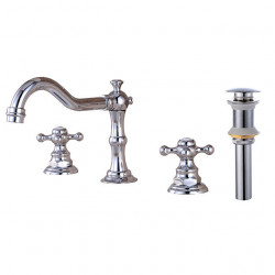 Two HandlesBathroomFaucet,Chrome Three Holes Widespread,Centerset,Brass Contemporary Bathroom Sink Faucet Contain with...
