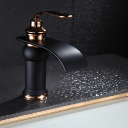 Bathroom Sink Faucet - Waterfall Oil-rubbed Bronze Widespread One Hole,Single Handle One HoleBath Faucet