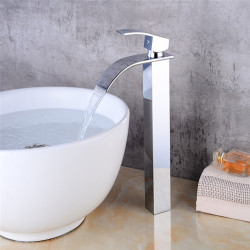 Heightening basin waterfall faucet cold and hot water all copper waterfall single hole basin faucet