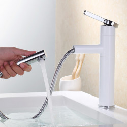 Modern Centerset Pullout Spray Ceramic Valve Single Handle One Hole Painting, Bathroom Sink Faucet