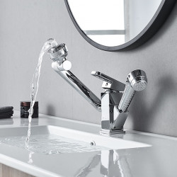 Bathroom Sink Faucet - Rotatable,Pull out,Pullout Spray Electroplated Centerset Single Handle One HoleBath Faucet