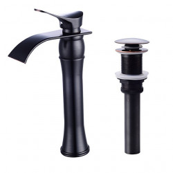 Bathroom Sink Faucet - Waterfall Oil-rubbed Bronze,Painted Finishes,Black Centerset Single Handle One HoleBath Faucet