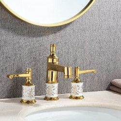 bathroom sink faucet - royal style widespread 3 pcs deck mounted basin faucet golden ceramic two handles three holes classic...