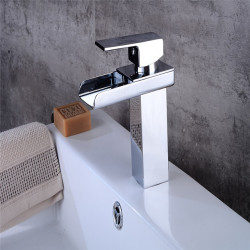 All Copper Hot And Cold Single Hole Mixing Basin Faucet Bathroom Sink Waterfall Faucet