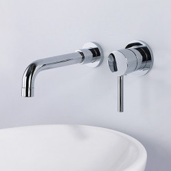 Bathroom Sink Faucet - Standard,Wall Mount Chrome Widespread Single Handle Two Holes Bath Faucet