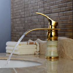 Contemporary Centerset Waterfall Ceramic Valve Single Handle One Hole Ti-PVD, Bathroom Sink Faucet