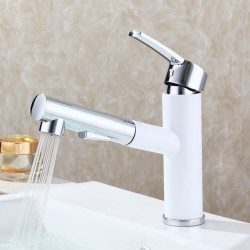 Round Centerset Pull out Ceramic Valve Single Handle One Hole Painting, Bathroom Sink Faucet