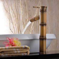 Bathroom Sink Faucet - Waterfall Antique Brass Vessel One Hole,Single Handle One HoleBath Faucet