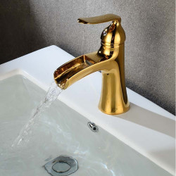 Bathroom Sink Faucet - Waterfall Gold,Painted Finishes Centerset Single Handle One HoleBath Faucet