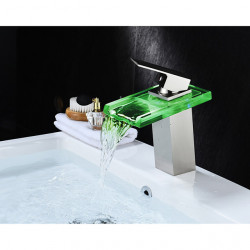 Transparent Bathroom Sink Faucet - Waterfall,LED Nickel Brushed Centerset Single Handle One HoleBath Faucet,Brass