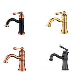Bathroom Sink Faucet British Classical Style Single Handle Cold and Hot Water Mixer Bath Basin Vanity Faucets Deck Mount...