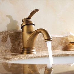 Single HandleBathroomFaucet,Antique BrassOneHole Waterfall,Centerset,Brass Traditional BathroomSink Faucet Contain with...