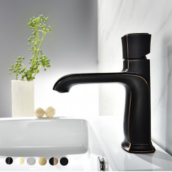 Bathroom Sink Faucet -Deck Mounted Chrome,Oil-rubbed Bronze,Electroplated Centerset Single Handle One Hole Bath Mixer Faucet...