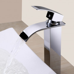 Contemporary Chrome Waterfall One Hole