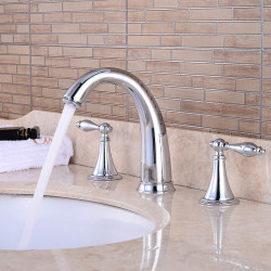 Bathroom Sink Faucet - Waterfall Chrome Widespread Two Handles Three Holes