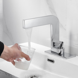 Bathroom Sink Faucet - Centerset Electroplated Deck Mounted Single Handle One HoleBath Faucet