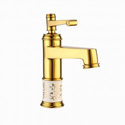 Bathroom Sink Faucet - Widespread Gold,Electroplated Centerset Single Handle One HoleBath Faucet