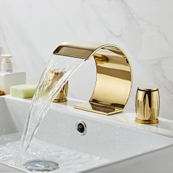 Brass Bathroom Sink Faucet Contain with Cold and Hot Water Widespread ,Waterfall Electroplated Bath Faucet Two Handles Three...