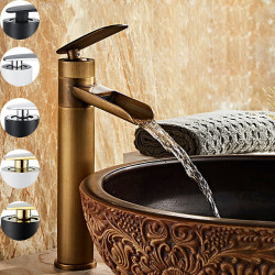 Single HandleBathroomFaucet,ElectroplatedOneHole Rotatable Waterfall,Centerset,Brass BathroomSink Faucet Contain with...