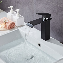 Single Handle Matte Black Bathroom Sink Faucet, Waterfall Vanity Faucets, Painted Finishes Lavatory Basin Mixer Faucet with...