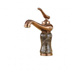 Bathroom Faucet Rose Gold Finish Brass Basin Sink Solid Brass Faucets Single Handle Water Mixer Faucet Bath Crane with Heavy...