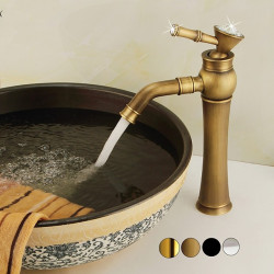 Bathroom Sink Faucet -Widespread Antique Copper, Gold, Chrome, ORB Standard Spout Single Handle One Hole Electroplated Centerset