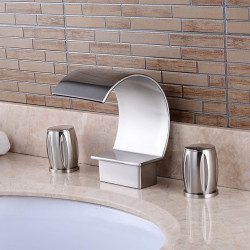 Bathroom Sink Faucet - Waterfall Chrome Finished Widespread Two Handles Three Holes Bath Faucet,Brass