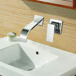 Contemporary Wall Mounted Waterfall with Ceramic Valve Single Handle Two Holes for Chrome,Bathroom Sink Faucet