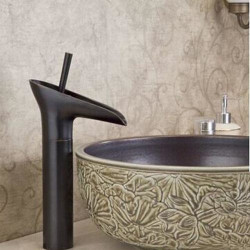 Bathroom Sink Faucet - Waterfall Oil-rubbed Bronze Centerset One Hole,Single Handle One HoleBath Faucet