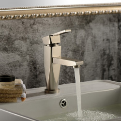 Contemporary Centerset Ceramic Valve One Hole Single Handle One Hole Nickel Brushed, Bathroom Sink Faucet