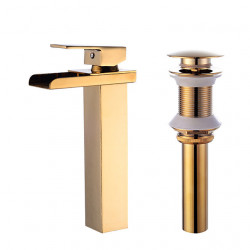 Faucet Set - Waterfall Gold Centerset Single Handle One HoleBath Faucet