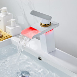 Bathroom Sink Faucet - Waterfall Painted Finishes Centerset Single Handle One HoleBath Faucet