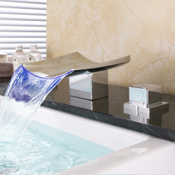 Bathroom Sink Faucet - Waterfall,Widespread Chrome Deck Mounted Two Handles Three Holes Bath Faucet,Brass